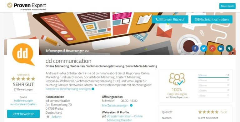 dd-communication Bewertungen zu SEO, Online Marketing und Webseitenerstellung