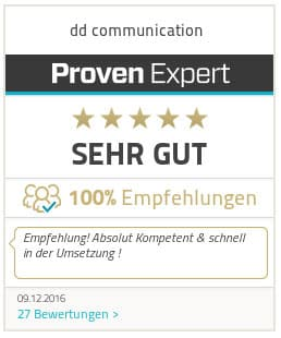 SEO und Online Marketing Bewertungen für dd-communication auf Proven Expert